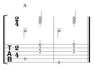Ritmo con el acorde de La mayor en 2x4