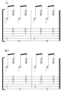 Ritmo de 2x4 con los acordes de E y B7