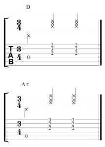 Ejercicio en 3x4 don los acordes de D y A7