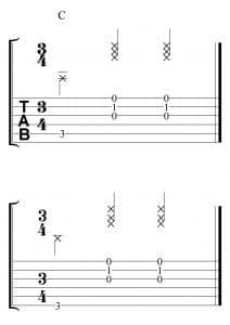 Ejercicio rítmico para acompañar en 3x4 en Do mayor