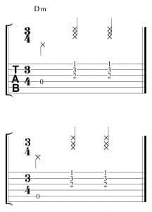 Explicación de cómo acompañar en 3/4 con la guitarra