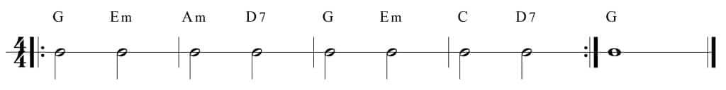 Ejercicio de técnica con los acordes de G, Em, Am, D7 y C