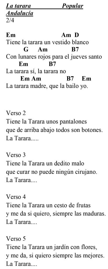 La Tarara: Letra con acordes