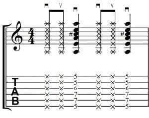 Ejercicio rítmico con cejilla