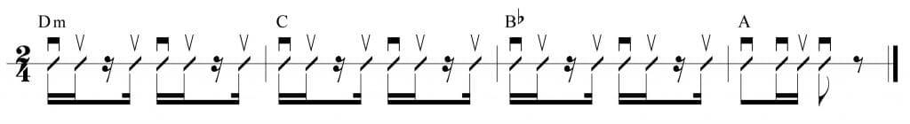 Ritmo de rumba con los acordes: Dm, C, Bb y A