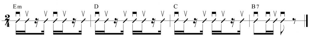 Ritmo de rumba con los acordes: Em, D, C y B7
