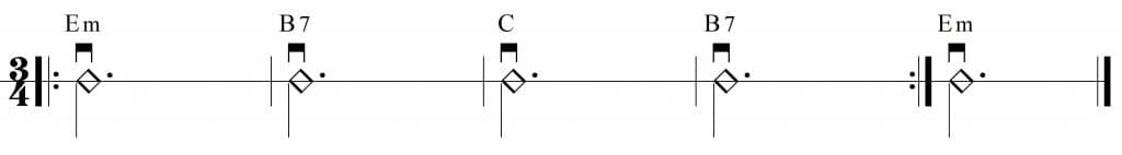 Ejercicio para aprender a cambiar los acordes Em, B7 y C
