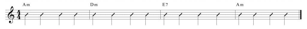 4 Compases para practicar: Am, Dm, E7 y Am