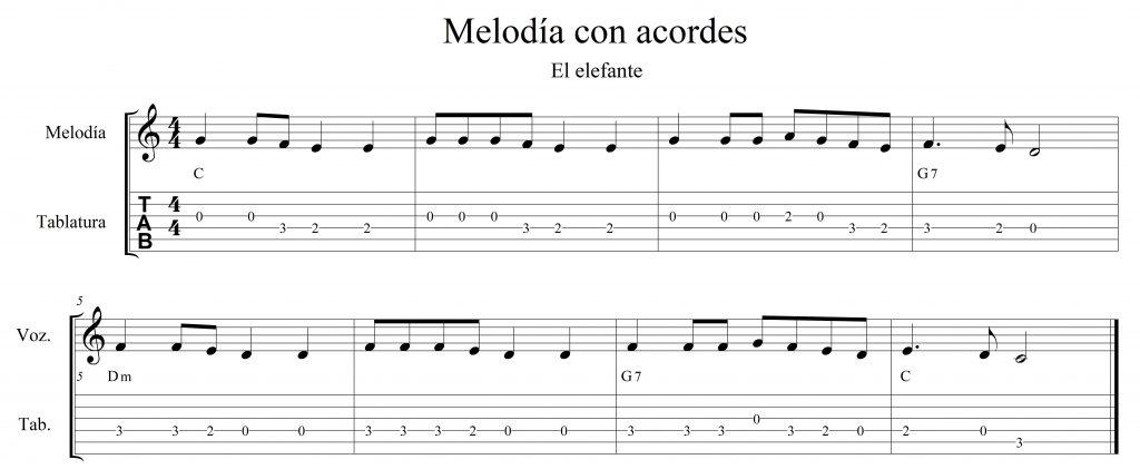 Melodía con acordes