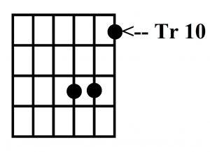 Acorde G, tres notas, traste 10