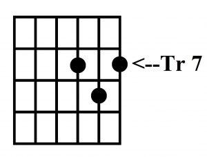 Acorde G, tres notas traste 7