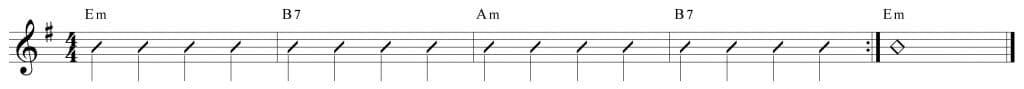 Composición de 4 compases en Em