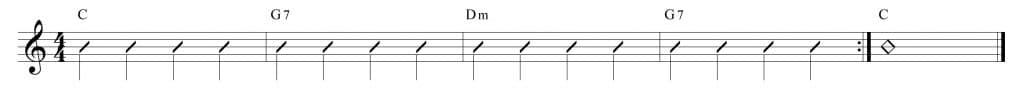 Composición con los acodes de C, G7 y Dm