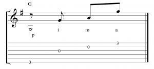 Ritmo en 2x4 arpegiando el acorde G