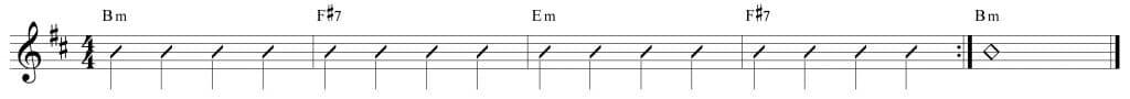 Composición de 4 compases en si menor
