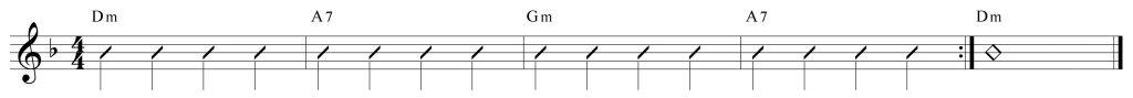 Composición de 4 compases en re menor