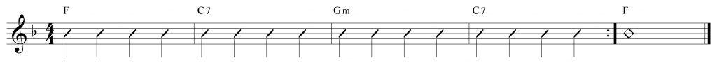 Secuencia de acordes en la tonalidad de Fa mayor