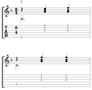 Ritmo en 3x4 con el acorde de Fa con notas simultaneas.