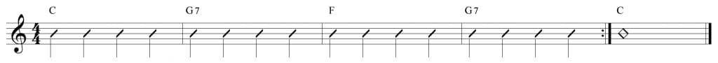 Composición de 4 compases en Do mayor