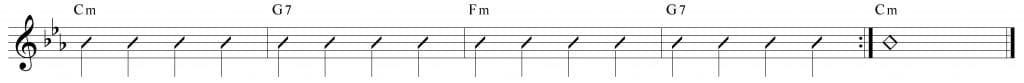 Composición de 4 compases en do menor