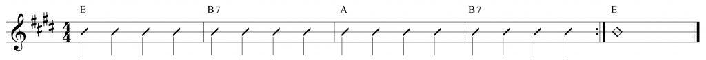 Composición de 4 compases en Mi