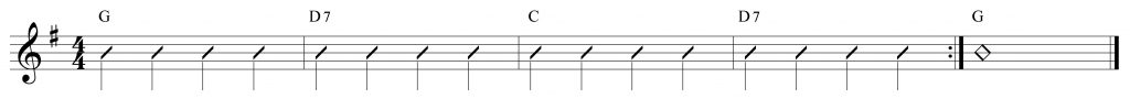 Composición de 4 compases con Re7 Sol