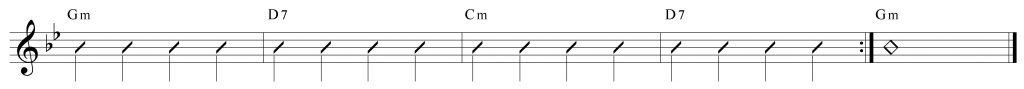 Composición de 4 compases en Re7 y solm