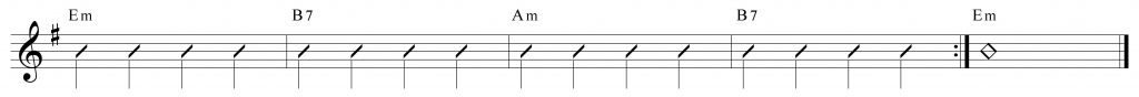 Composición de 4 compases en mi menor