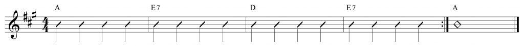 Composición de 4 compases en La